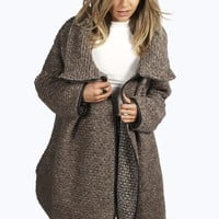 Hayley Boucle Funnel Knit Coat With PU Trim