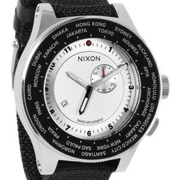 Nixon Passport Silver Dial Black Nylon Canvas Mens Watch A3211433