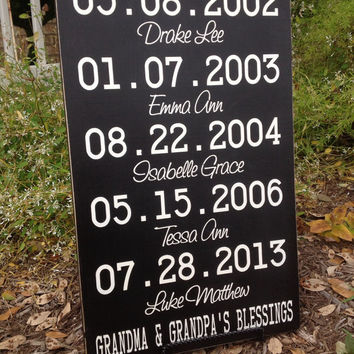 PERSONALIZED - Grandparents Sign - Each Day is a Blessing-Mothers Day Gift , Important Dates Sign, Wedding Gift , - Special Dates