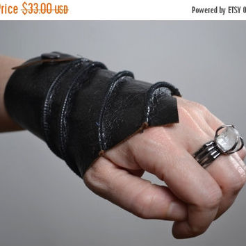 End Of Summer SALE Black Leather Cuff Bracelet - Leather Cuff Bracelet - Leather Cuff - Twisted Leather Cuff Bracelet - Leather Black Cuff