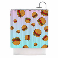 "Juan Paolo ""Cheeseburger Paradise"" Pastel Blue Shower Curtain"