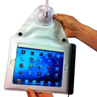 "Waterproof, Suction-Mount iPad Case - Lever Action, Hanging iPad Holder for iPad, iPad Mini, 9.7"" Tablets"