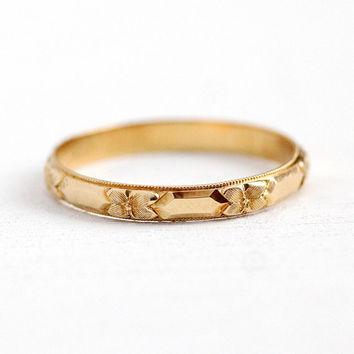 Sale - Men's Wedding Band - Vintage Art Deco 14k Yellow Gold Orange Blossom Flower Ring - Size 11 3/4 Eternity Milgrain Floral Fine Jewelry