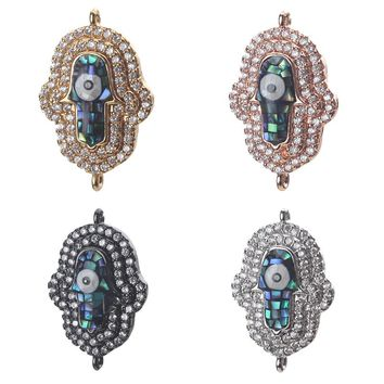 1pc 23*15mm Fashion Cubic Zirconia Shell Evil Eye Charms Connectors Jewelry Accessories For Women Diy Evil Eye Bracelet & Bangle