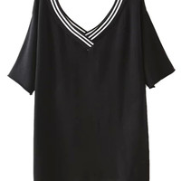 Black Stripe V-neck Short Sleeve Knit Loose T-shirt
