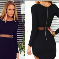 Long Sleeves Sheer Mesh Cut-out Long Sleeves Bodycon Dress