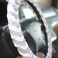 Gray & White Chevron Steering Wheel Cover