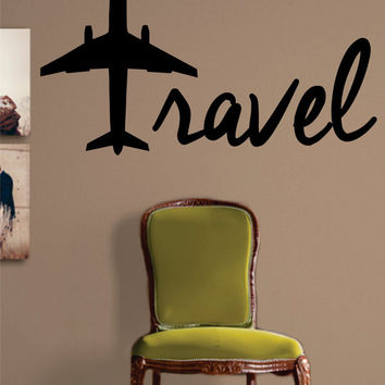 Travel Airplane Quote Decal Sticker Wall Vinyl Decor Art