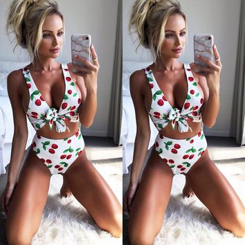 Black Friday Deals New 2018 Summer Women Cherry Print Bandage Bikini Set Push-up Bra Swimsuit Bathing Suit High Waist Swimwear