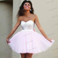 Cheap Hot Sale Short Prom Dresses Sweetheart Top Sequins Tulle Light Pink Cocktail Dresses With Back Bow Handmade EN296