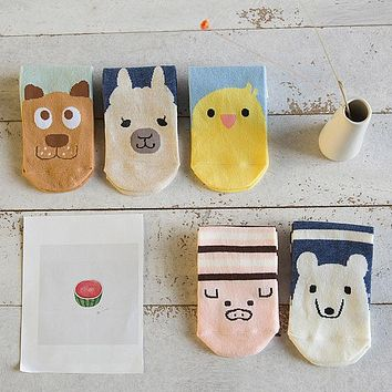 5 Pairs/pack Women Cute Animals Socks Cotton Comfortable Cartoon Short Style Polar Bear Alpacas Dogs Pattern Lovely Boat Socks