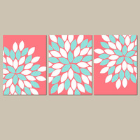 CORAL AQUA Wall Art Canvas or Prints Bathroom Wall Art Girl Nursery Bedroom Pictures Flower Burst Pictures Dahlia Set of 3 Crib Decor
