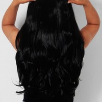 Jet Black Curly Instant Full Head Clip In Hair Extensions | Pink Boutique