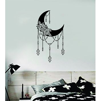 Floral Moon Art Wall Decal Sticker Vinyl Room Bedroom Decor Teen Space Geometric Dreamcatcher Boho Tattoo Flowers Girls