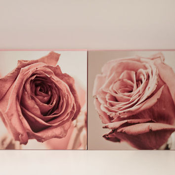 Dusky Roses Wall Panels - Set of 2 8x8 Mounted Photographs, Ready to Hang Wall Art, Feminine, Romantic, Botanical, Cottage shabby chic