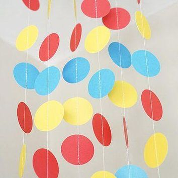 Red Yellow Blue Circle Polka Dot Garland 10 FT Banner Superhero Party Decor