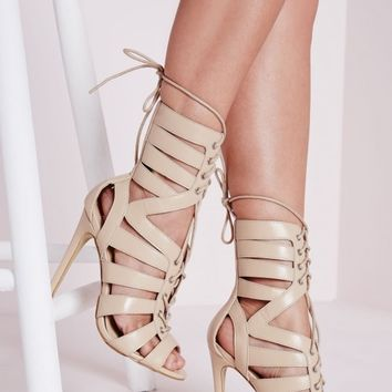 STRAPPY DETAIL HEELED SANDALS NUDE