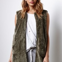 Honey Punch Shaggy Faux Fur Vest - Womens Jacket - Blue -