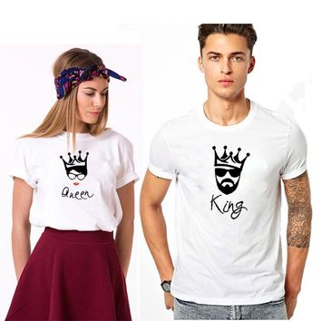 Trendy EnjoytheSpirit KING and QUEEN Tshirt for A Couple White Soft Cotton O Neck Lovers Clothing Casual Losse Fit Crewneck Fashion AT_94_13