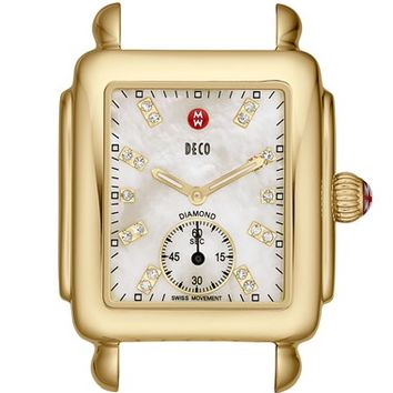Women's MICHELE 'Deco 16' Diamond Dial Gold Watch Case, 29mm x 31mm