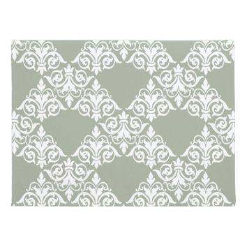 White Vintage Damask Sage Green Doormat