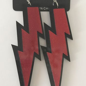 "4"" Red Lightning Bolt Earrings"