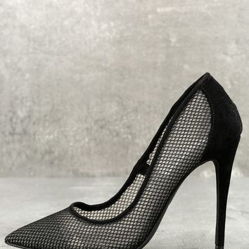 Darling Black Mesh Suede Leather Pumps