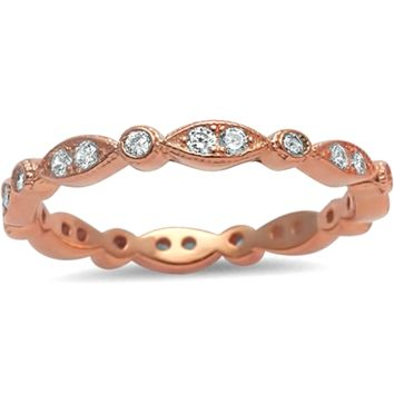 .925 Sterling Silver Rose Gold Marquise and Round Cut Eternity Ladies Ring Size 4-12 Midi Knuckle Stackable CZ Eye