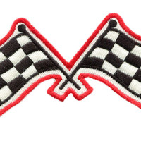 Vintage Style Checkered Flag Racing Patch 11cm