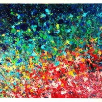 ORIGINAL Acrylic Painting Abstract Rainbow no cost SHIPPING 16 x 20...... | EbiEmporium - Painting on ArtFire