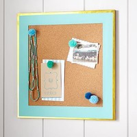 Paper Border Corkboard, Gold Trim