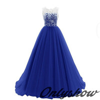 2016 New Royal Blue Lace Tulle Pleated Back Buttons Floor Length Prom Dresses Formal Women Long Dress Vestidos