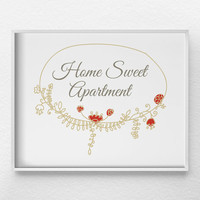 Home Sweet Apartment Print, Housewarming Gift, Apartment Decor, Typographic Print, College Apartment Art, Girly Wall Art