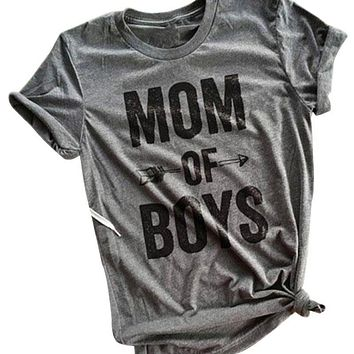 2017 women 5 colors mom of boys letters printed t shirt soft arrow short sleeve o neck tee t shirt summer fashion casual top