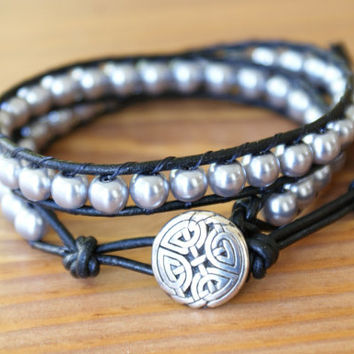 Silver Bohemian beaded leather wrap bracelet Celtic Knot, double Wrap, boho chic trendy jewelry, scottish