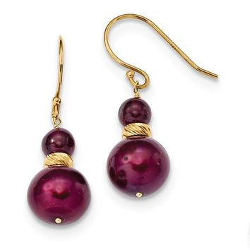 14k Garnet & 9-10 mm Cranberry C Pearl French Wire Earrings