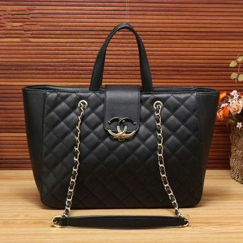 VONE05E Chanel' Simple Fashion Quilted Metal Chain Single Shoulder Bag Women Temperament Large Shopper Tote Handbag
