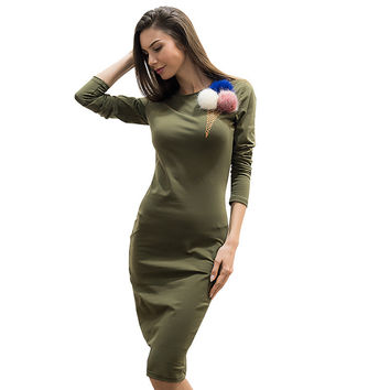 Women Fall Winter Sweater Dress Print Ice Cream Long Sleeve Slim Maxi Dresses Sexy Party Bodycon Vestidos Robe Casuales de Mujer