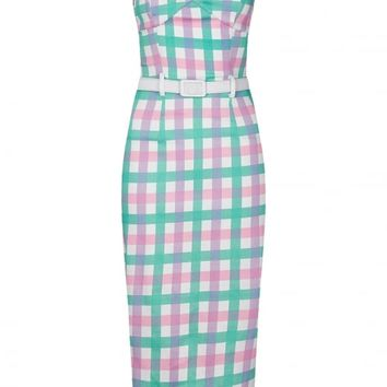 COLLECTIF MAINLINE MONICA CANDY GINGHAM PENCIL DRESS