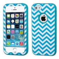 MyBat Hybrid Protector Cover for Apple iPhone 5S/5 - Retail Packaging - Blue Wave/Tropical Teal Verge