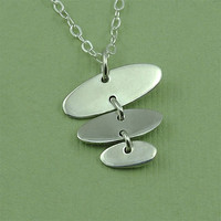 Oval Riveted Necklace - sterling silver art deco necklace - modern - gift