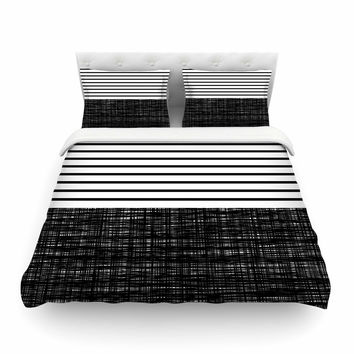 "Trebam ""Platno (with Black Stripes)"" Black White Featherweight Duvet Cover"