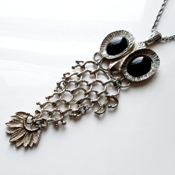 Vintage Articulated Owl Necklace Silvertone (Fish-esque)