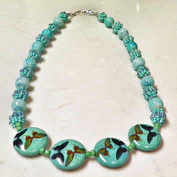 Teal Statement Beaded Necklace - Combination Bead Necklace - Seed Bead Ball Necklace - Flight of the Butterflies Necklace