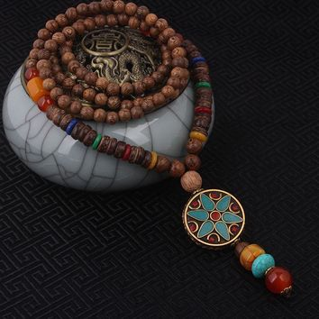 fashion evade enamell ethnic necklace,church star  vintage plate Nepal jewelry,handmade sanwood bodhi beads vintage necklace