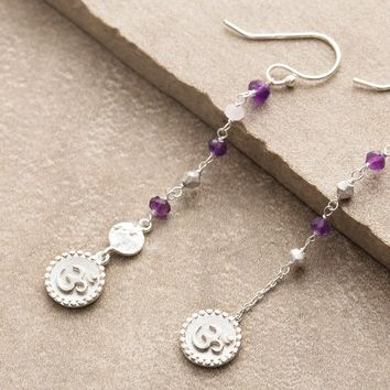 Amethyst Rose Quartz Om Earrings