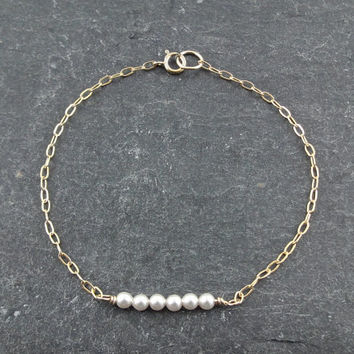 Dainty Pearl Bracelet with 14k Gold Filled Fine Chain