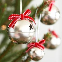Silver Bell Christmas Tree Decorations Set Of Twelve
