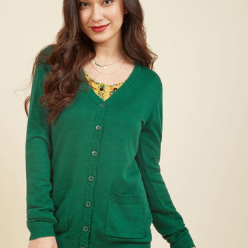 Have a Good Knit Cardigan in Forest | Mod Retro Vintage Sweaters | ModCloth.com
