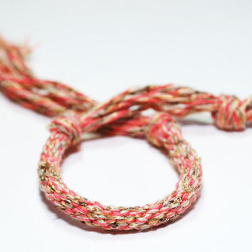 Kumihimo Fibre Bracelet Pink Cotton for Girl